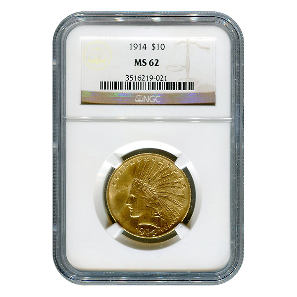 Certified US Gold $10 Indian 1914 MS62 NGC