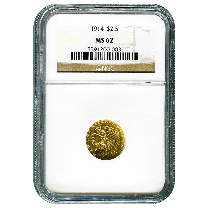 Certified US Gold $2.5 Indian 1914 MS62 NGC