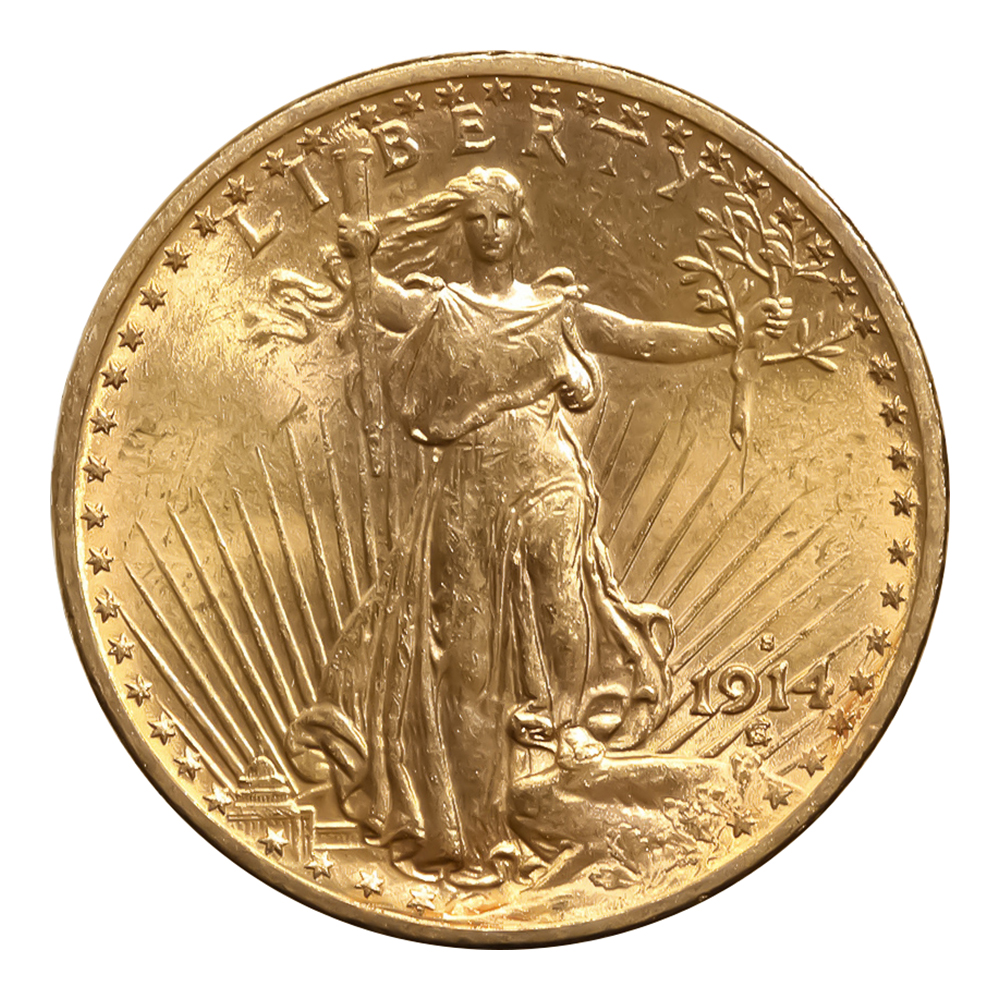 $20 Gold Saint Gaudens 1914-S Uncirculated