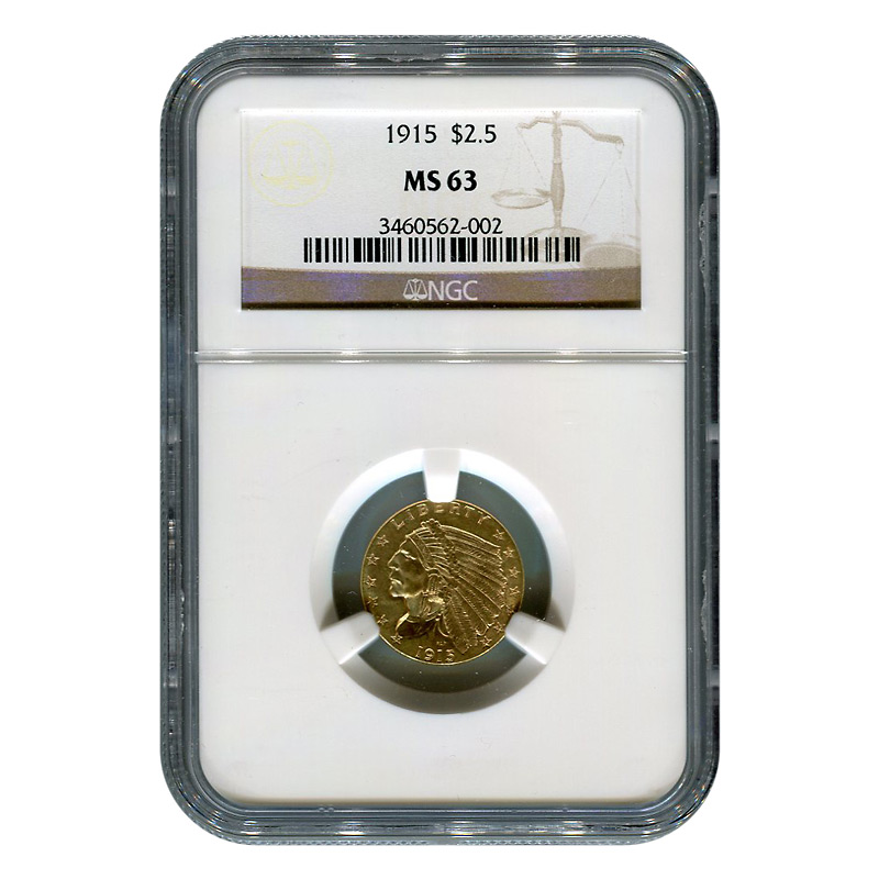 Certified US Gold $2.5 Indian 1915 MS63 NGC
