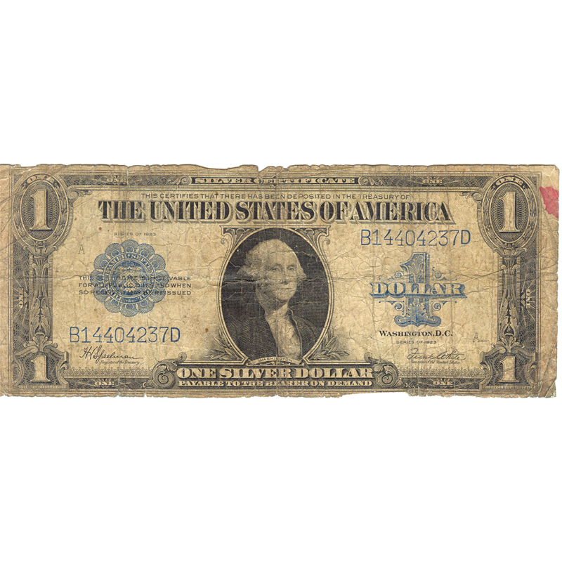 1923 $1 large size silver certificate PR-AG