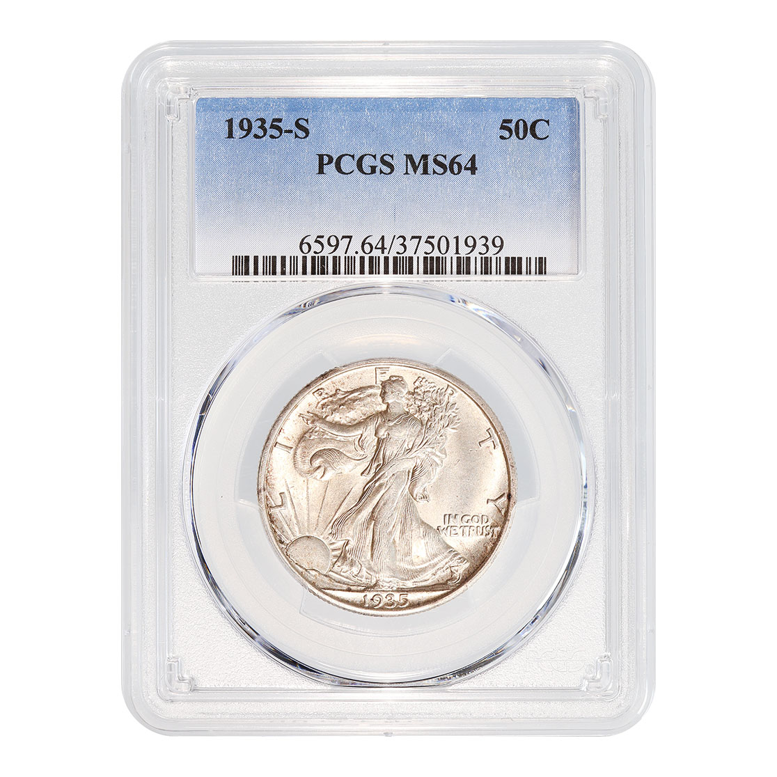 Certified Walking Liberty Half 1935-S MS64 PCGS