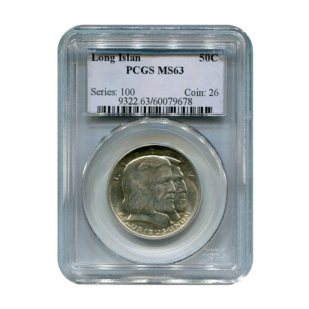 Certified Commemorative Half Dollar Long Island 1936 MS63 PCGS
