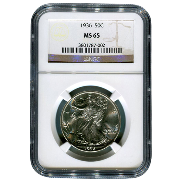 Certified Walking Liberty Half Dollar 1936 MS65 NGC