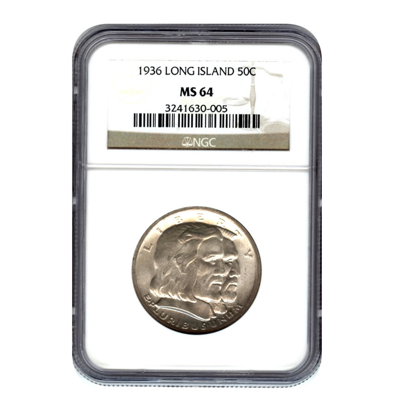 Certified Commemorative Half Dollar Long Island 1936 MS64 NGC
