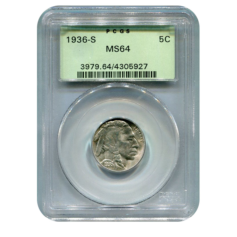 Certified Buffalo Nickel 1936-S MS64 PCGS