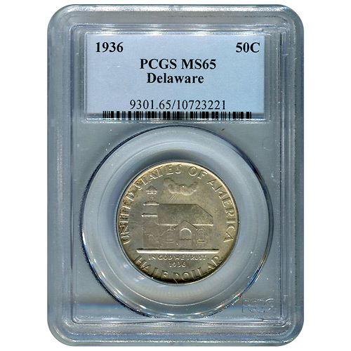 Certified Commemorative Half Dollar Delaware 1936 MS65 PCGS