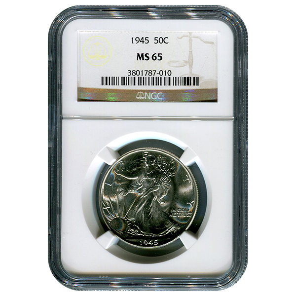 Certified Walking Liberty Half Dollar 1945 MS65 NGC