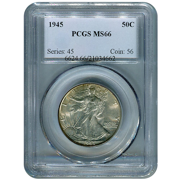 Certified Walking Liberty Half Dollar 1945 MS66 PCGS