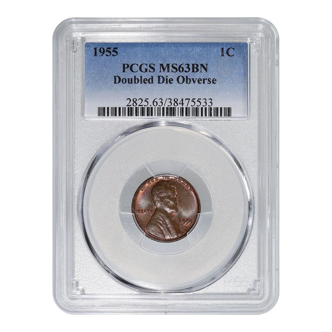 Certified Lincoln Cent 1955 Double Die Obverse MS63BN PCGS