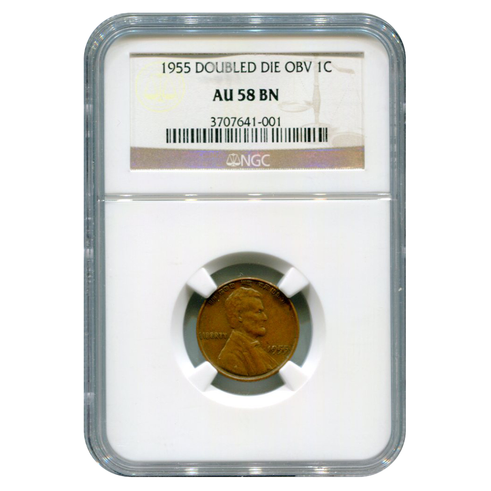 Certified Lincoln Cent 1955 Double Die Obv AU58 BN NGC