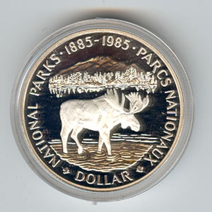 Canada 1985 silver dollar National Parks