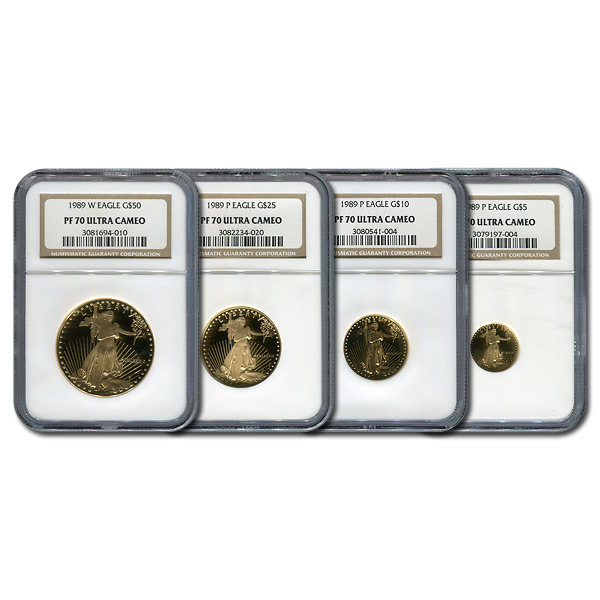Certified Proof American Gold Eagle 4pc Set 1989-P PF70 NGC