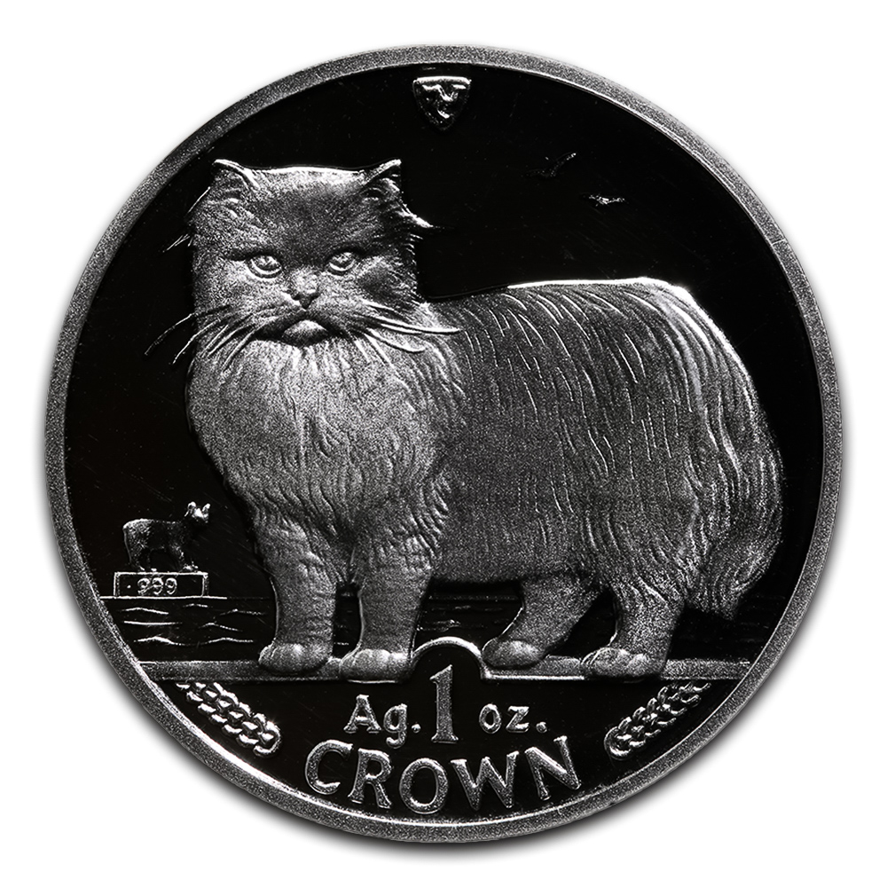 Isle of Man 1989 1 Crown Silver Proof Persian Cat