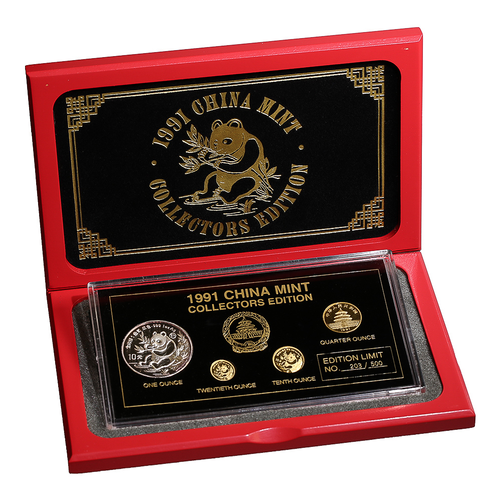 1991 China Mint Collectors Edition 4 Coin Panda Set Box & COA
