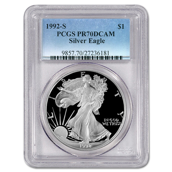 Certified Proof Silver Eagle 1992-S PR70DCAM PCGS