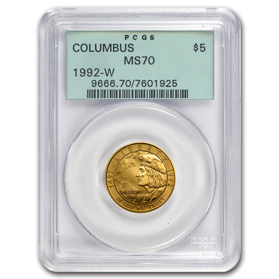 Certified Commemorative $5 Gold 1992-W Columbus MS70 PCGS
