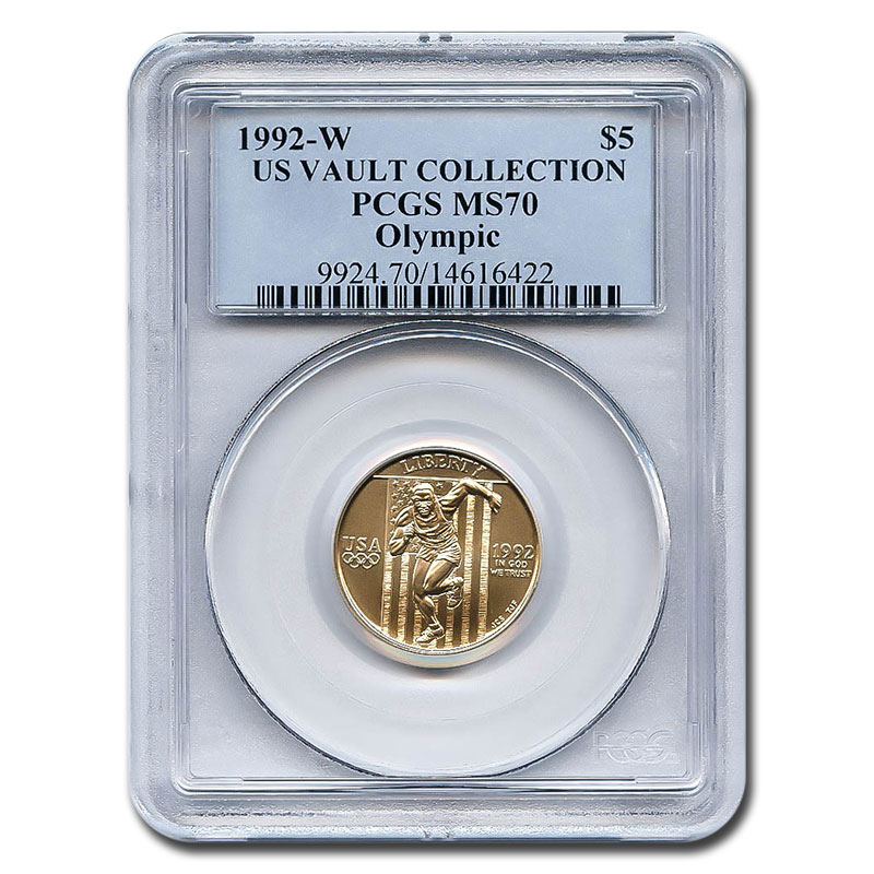 Certified Commemorative $5 Gold 1992-W Olympic MS70 PCGS US Vault Collection