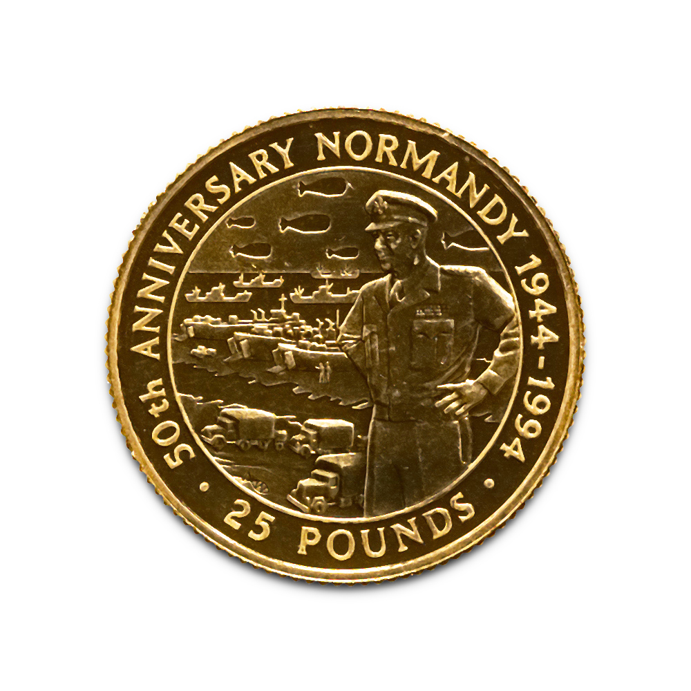 Guernsey 25 Pounds Gold BU 1994 50th Anniversary of Normandy
