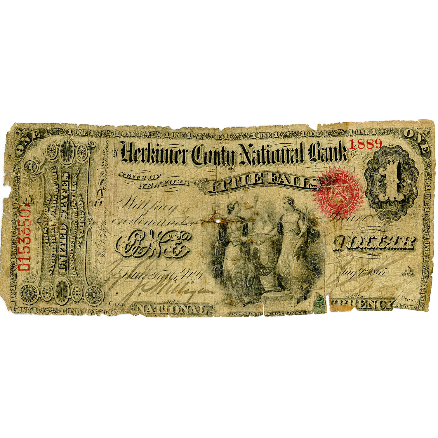 1865 $1 National Bank Note Herkimer Falls NY Charter #1344 Fr