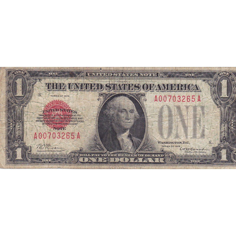 1928 $1 Red Seal United States Note VG