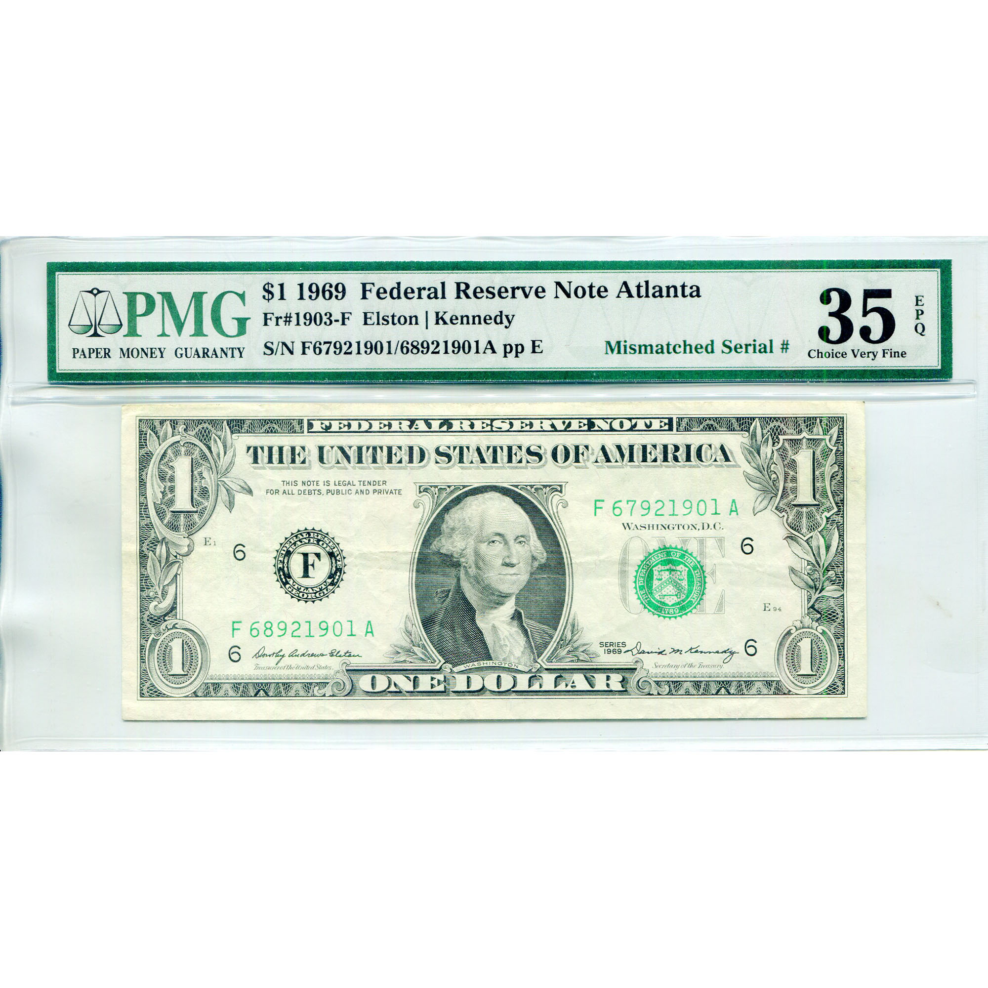1969 $1 Federal Reserve Note ERROR Mismatched Serial Numbers VF35 PMG
