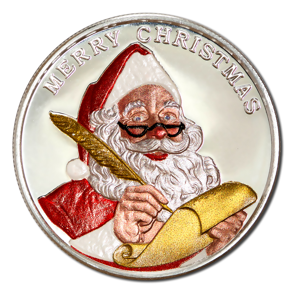 Christmas 2019 Silver Colorized Round Santa's List w/box