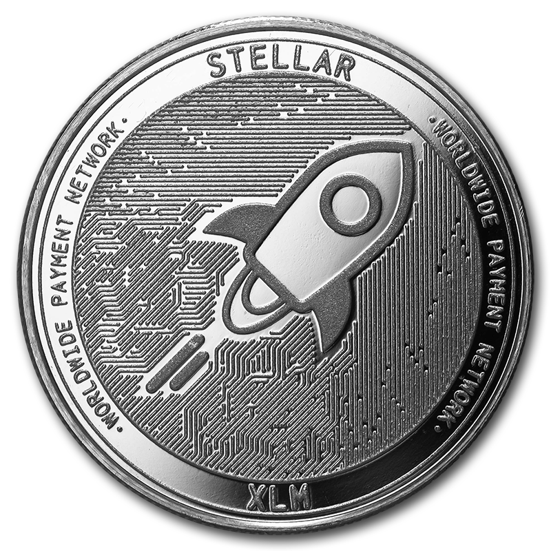 1 oz Silver Bullion Cryptocurrency Stellar Round .999 fine