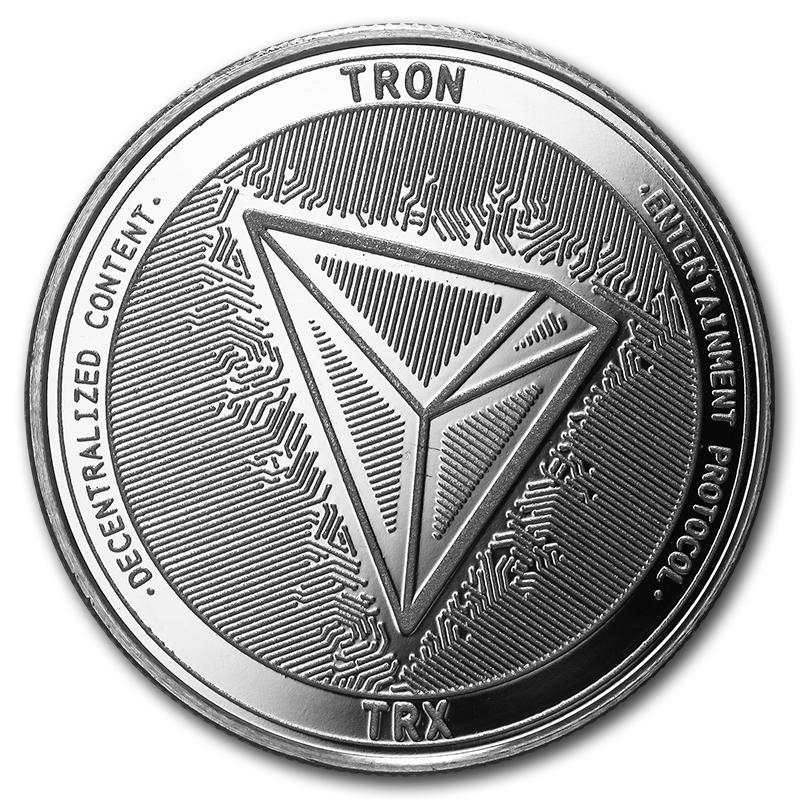 1 Oz Silver Bullion Cryptocurrency Tron Round 999 Fine