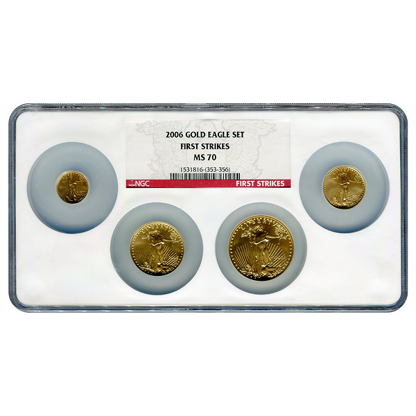 Certified American Gold Eagle 4pc Set 2006 MS70 First Strike NGC Large Holder