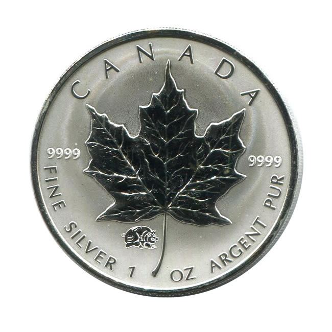 2007 Canada 1 oz. Silver Maple Leaf Reverse Proof Pig Privy Mark