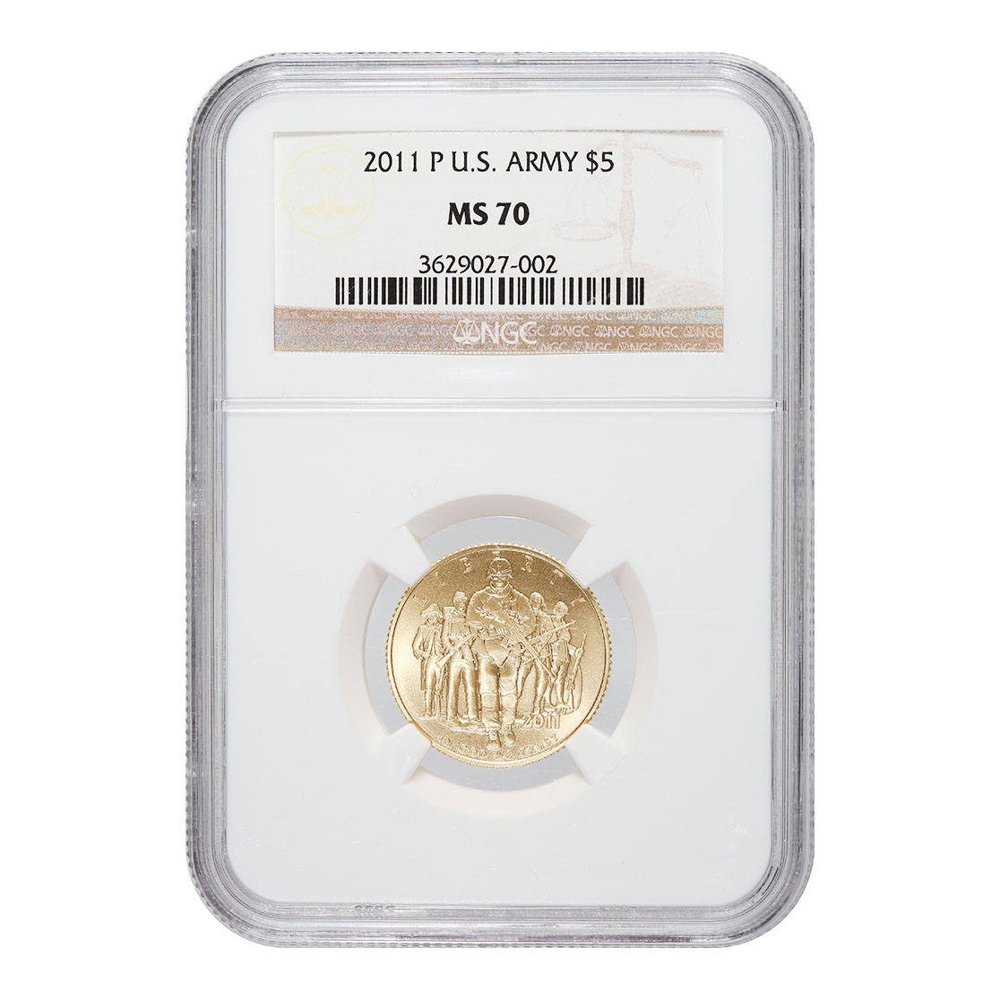 Certified Commemorative $5 Gold 2011-P US Army MS70 NGC