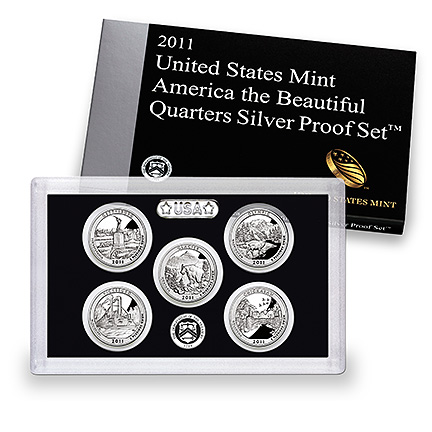 US Proof Set 2011 5pc Silver (Quarters Only) America The Beautiful