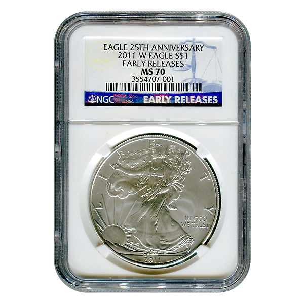 Burnished 2011-W Silver Eagle MS70 NGC Early Release