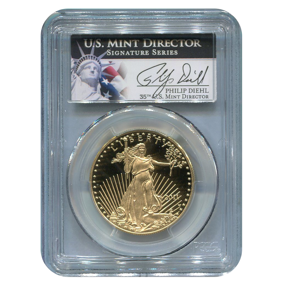Certified Proof American Gold Eagle $50 2011-W PR70DCAM PCGS Signed Philip Diehl
