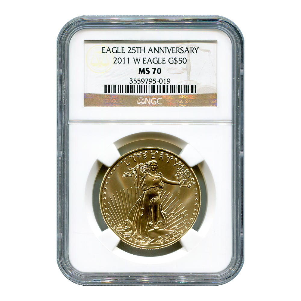 Certified Burnished American $50 Gold Eagle 2011-W MS70 NGC