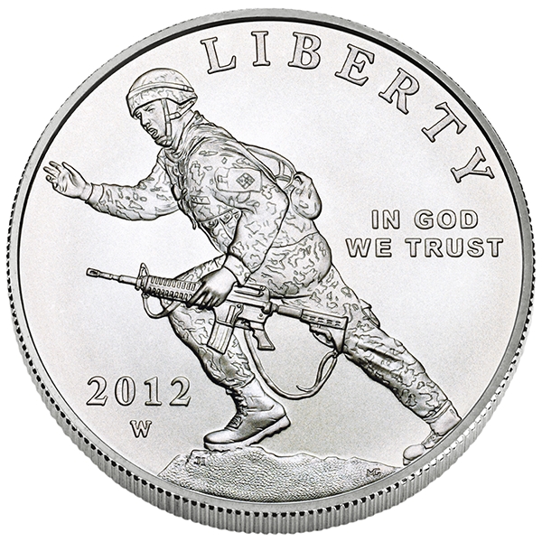 US Commemorative Dollar Uncirculated 2012-W Infantry Soldier