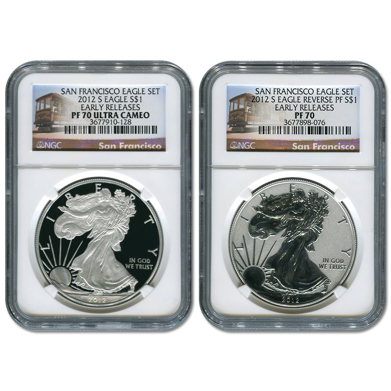 Certified 2012-S American Eagle 2pc Proof Silver Set PF70 NGC Early Release