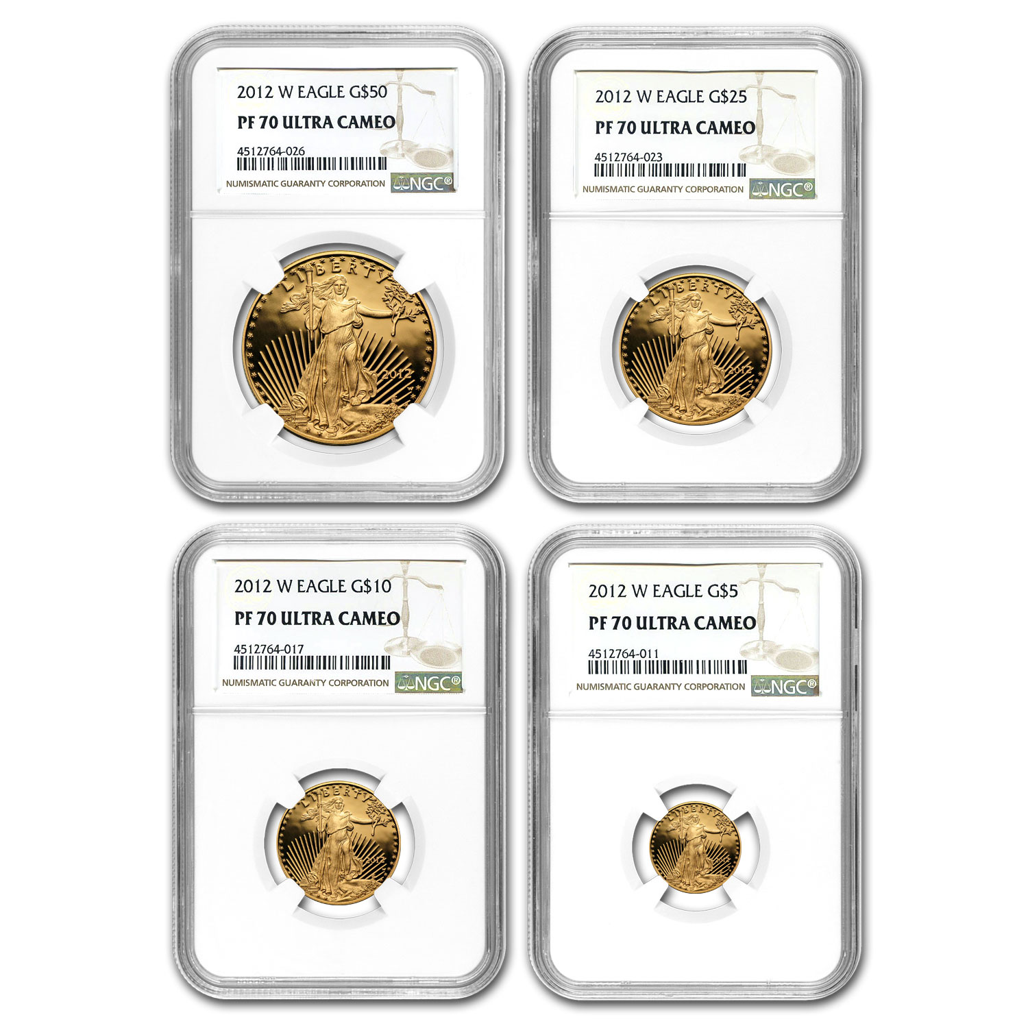 Certified Proof American Gold Eagle 4pc Set 2012-W PF70 NGC