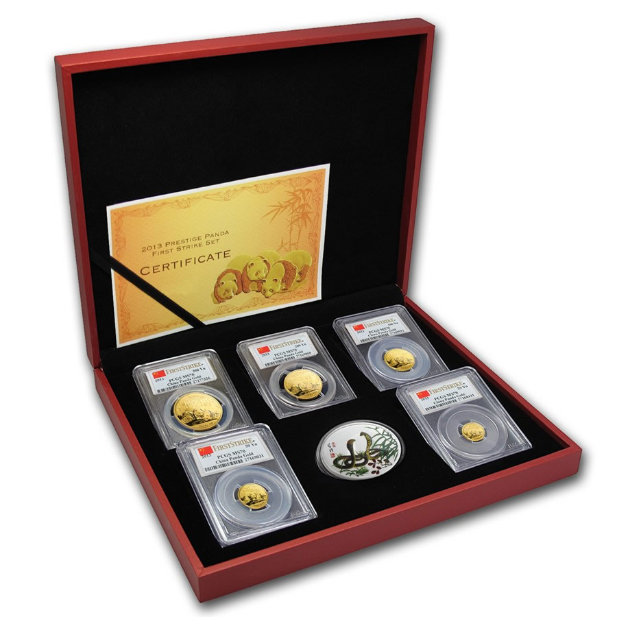 2013 China 5-Coin Gold Panda Prestige Set MS-70 PCGS First strike