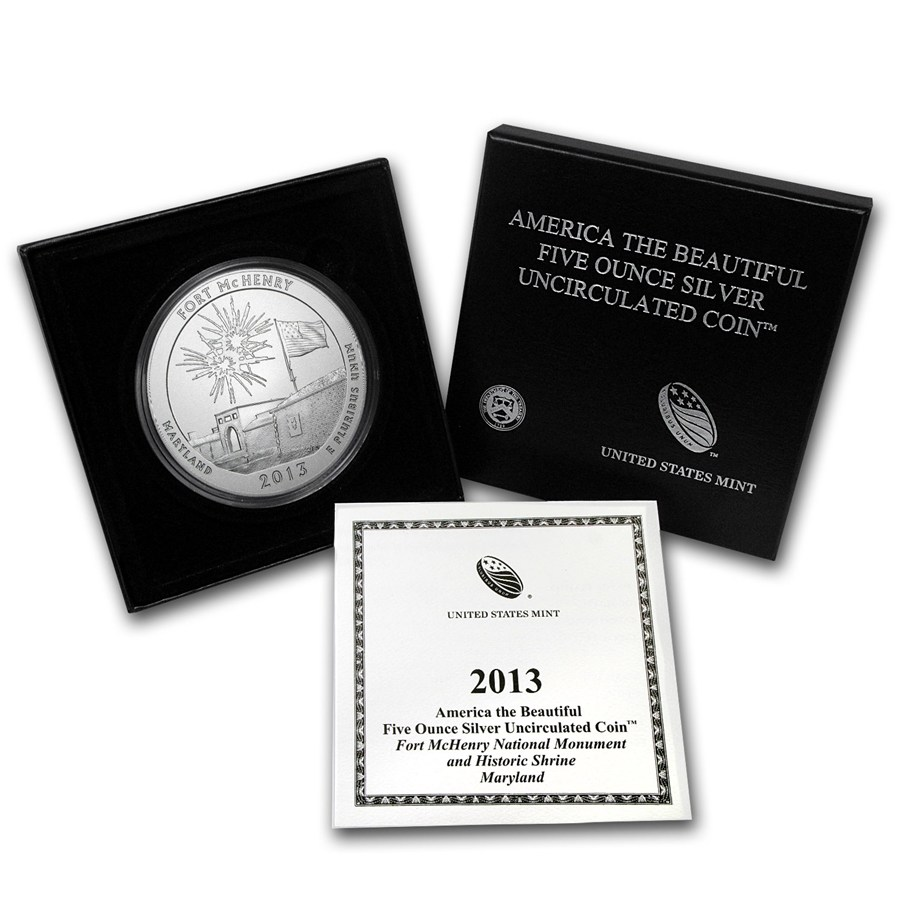 2013-P 5 oz Silver ATB Fort McHenry (w Box and COA)
