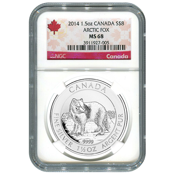 Certified 2014 Canadian Silver Arctic Fox 1.5 oz MS68 NGC