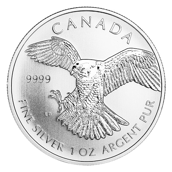 Canadian Silver 1 oz Peregrine Falcon 2014 (Birds of Prey Series)