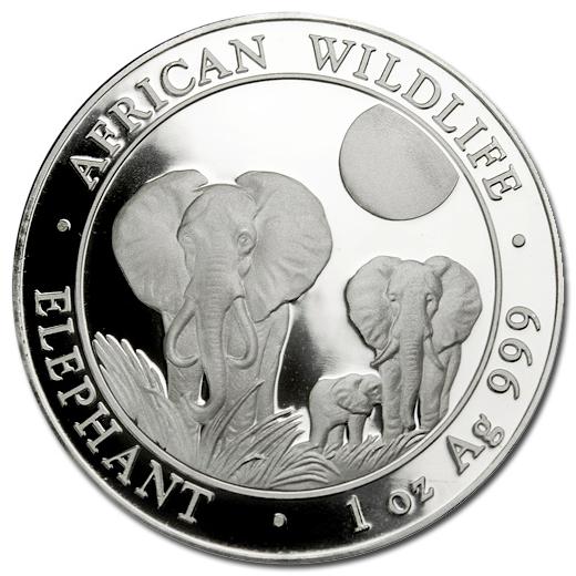 2014 Somalia 1 oz Silver Elephant Coin