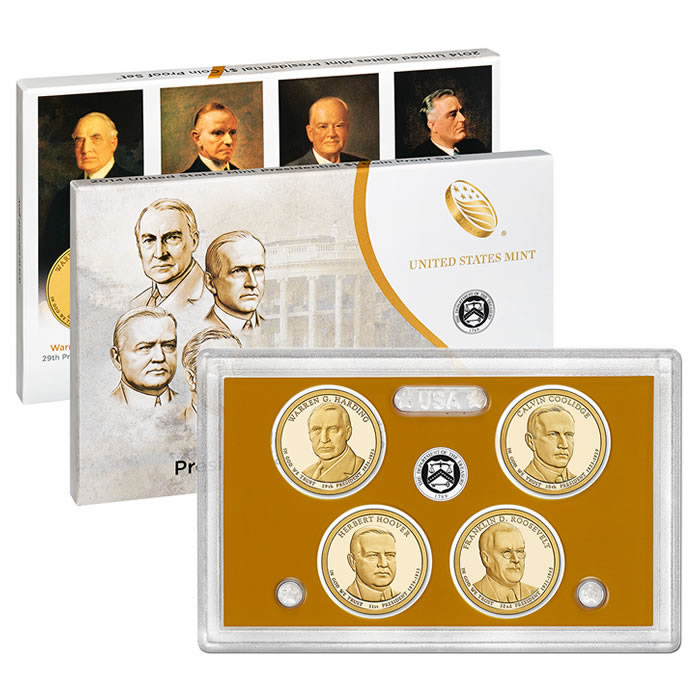 US Presidential Dollar 4pc Proof Set 2014