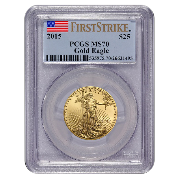 Certified American $25 Gold Eagle 2015 MS70 PCGS First Strike