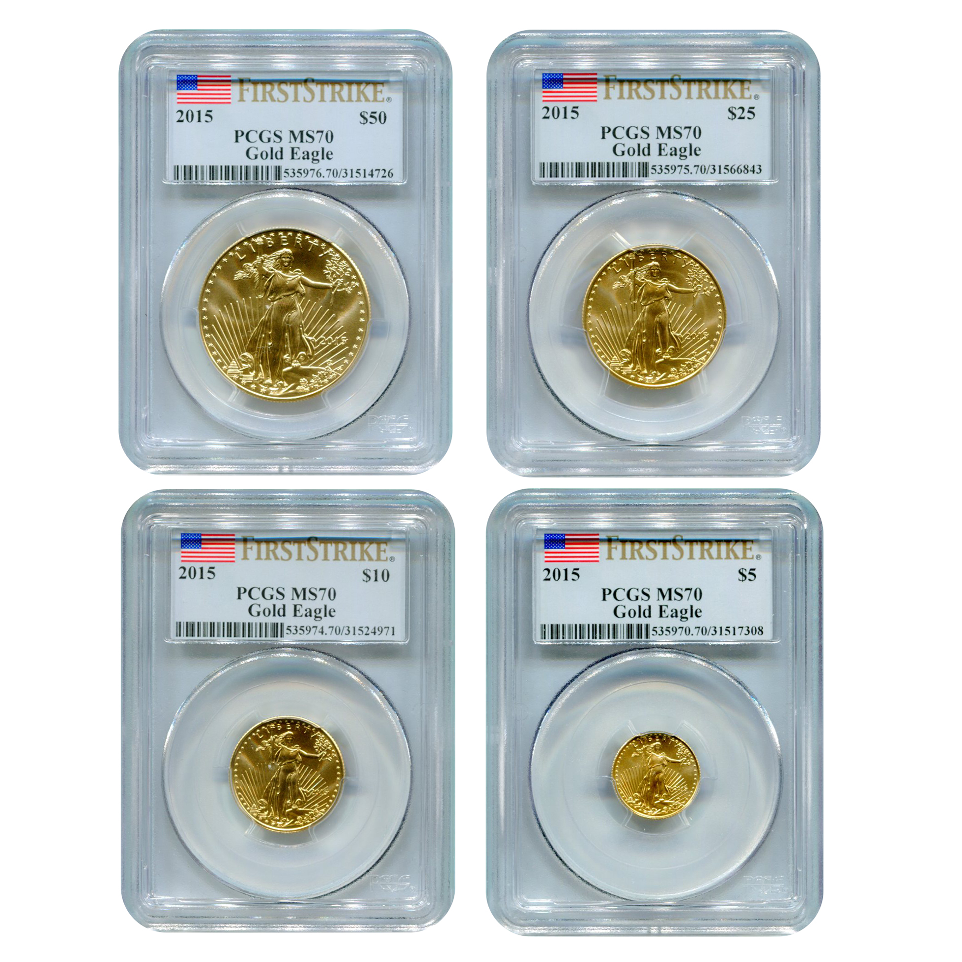 Certified American Gold Eagle 4pc Set 2015 MS70 First Strike PCGS