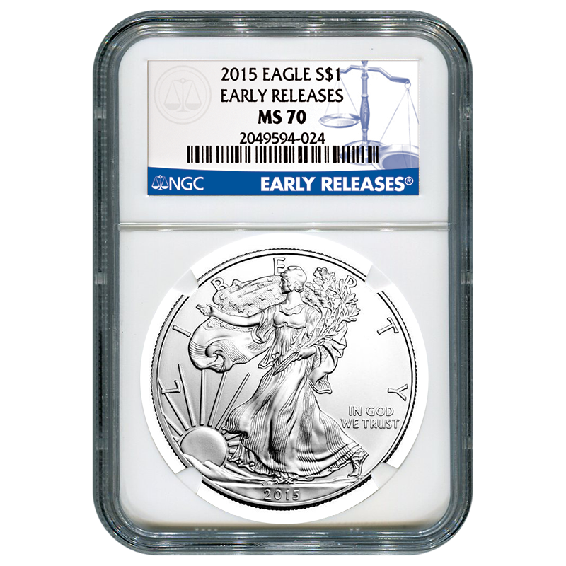 Certified Uncirculated Silver Eagle 2015 MS70 NGC Early Release