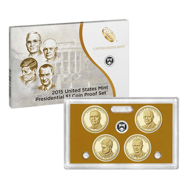 US Presidential Dollar 4pc Proof Set 2015