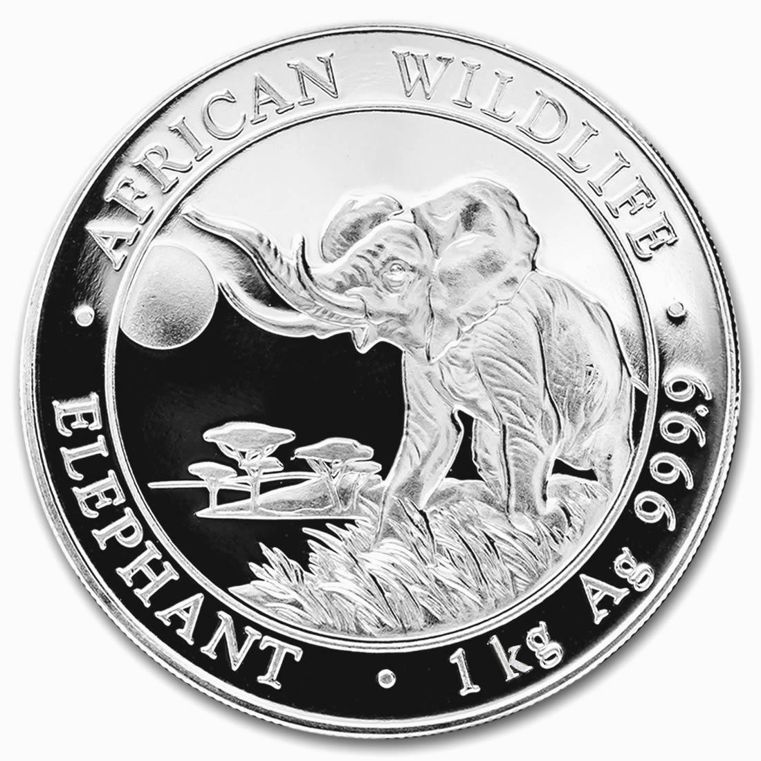 2016 Somalia 1 Kilo Silver Elephant Coin